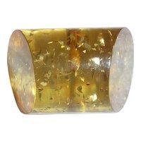 Gorgeous Rare Bakelite Stardust Glitter Button Slanted Ends Toggle Shape