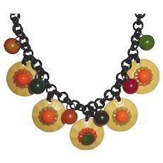 Outstanding Bakelite Multi-Colored Flowers and Balls Necklace .... A Must See!