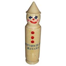 Vintage Havana Cuba Celluloid Purse Souvenir Figural Clown Perfume Bottle Holder