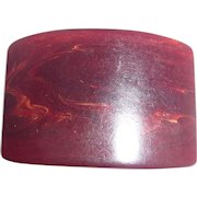 Beautiful Bakelite Burgundy Swirl Wide Curved Flat Chunky Toggle Button Unusual!