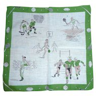 Fun Hanky Pictures of Sports Boys Play Baseball Basketball Hockey Football Tennis