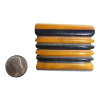 Fabulous XL Bakelite Thick Chunky Geometric Button Two Color Ripples !!Got to See This One!!