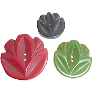 Beautiful Set of 3 Bakelite Deeply Carved Buttons Different Colors Different Sizes