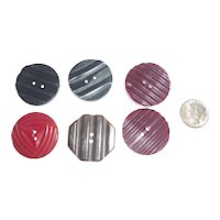 Set of 6 Bakelite Carved Ripple Buttons 4 Different Styles / Colors