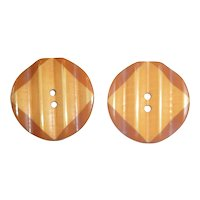 Great Set of 2 Bakelite 2 Color & Carved Cookie Buttons