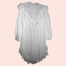 VANDEMERE Nightgown White Battenberg Lace Victorian Style Cotten Sz Small Wedding