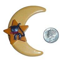 BAKELITE Moon & Star with Halloween Celluloid Black Cat Pin Brooch