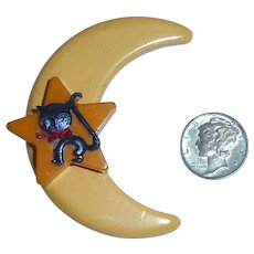 BAKELITE Moon & Star with Halloween Celluloid Black Cat Pin Brooch