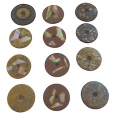 12 Antique Composition Crushed Mother of Pearl Whistle Buttons (sets & singles)