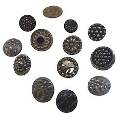 12 Small Antique Victorian Cut Steel Buttons