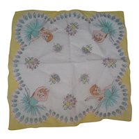Vintage CHILD'S HANDKERCHIEF Hanky Ballerina & Flowers