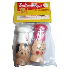 Vintage Japan Tiny Wooden Figural Man & Woman Salt & Pepper Shakers Mint in Package