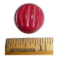 Large Vintage Bakelite Button Red Deco Carved Ball