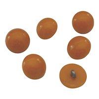 6 Bakelite Buttons Butterscotch Caramel Dome Dot