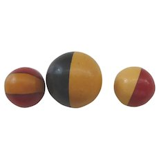 Set of 3 Rare Different Bakelite 2 Color Cookie Ball Buttons 2 Sizes