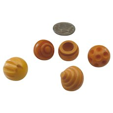 5 Small Bakelite Cream Corn Ball Buttons All Carved Differently