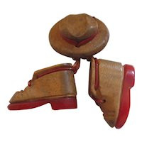 Red Bakelite & Wood Hiking Boots & Hat Pin Brooch