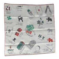 Vintage Novelty Handkerchief Hankie Hanky Superstition Theme Good & Bad Luck Mint