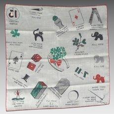 Vintage Novelty Handkerchief Hankie Hanky Superstition Theme Good & Bad Luck Mint