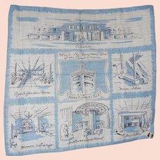 Vintage Heers Department Store Picture Hanky Handkerchief Mint w Tag BLUE