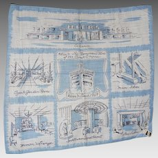 Vintage Heers Department Store Picture Hanky Handkerchief Mint w Tag BLUE
