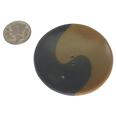 Huge Bakelite 2 Color Ying Yang Cookie Type Button