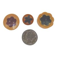 3 Different Bakelite Cookie Flower Buttons