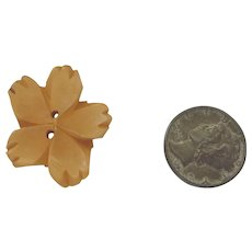 Bakelite Button Chunky Carved Figural Realistic Goofy Flower