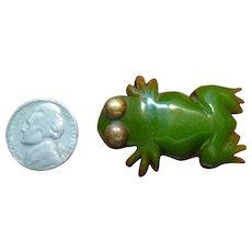Vintage Bakelite and Wood Frog Clip Pin Brooch
