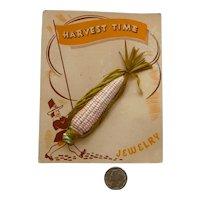 "Celluloid Pin ""Harvest Time"" Corn on Cob Mint Original Card Bakelite Era"