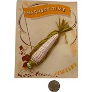 "Celluloid Pin ""Harvest Time"" Corn on Cob Mint Original Card Bakelite Era"