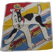Vintage Tom Lamb Children's Child's Handkerchief Hanky Dog & Train