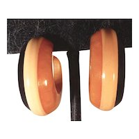 Vintage Bakelite 3 Color Laminated Striped Clip Earrings