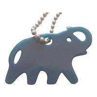Gorgeous Blue Bakelite Era Casein Elephant Keychain Charm