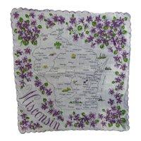 Vintage Printed Cotton WISCONSIN Souvenir Hankie Handkerchief