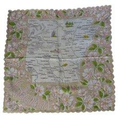 Vintage Printed Cotton ARKANSAS Souvenir Hankie Handkerchief