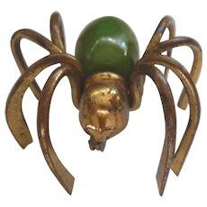 Vintage Green Bakelite & Brass Spider Bug Pin Brooch
