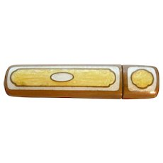 Small Guilloche Lipstick Brass Enameled