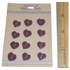 Mint On Card 12 Bakelite or Casein Black Cherry Red Heart Buttons