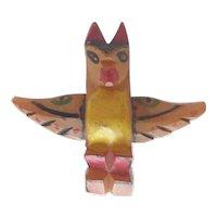 SALE! Very Rare Tiny Bakelite Totem Pole Bird Pin Brooch