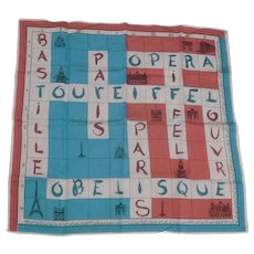 Vintage Paris France Crossword Puzzle Souvenir Hankie Handkerchief Scarf