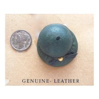 SALE! Vintage Leather Riding Hat Pin Brooch Mint/OrigCard