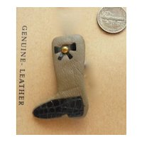 SALE! Reduced! Vintage Leather Riding Boot Pin Brooch  Mint/Original Card Western Germany