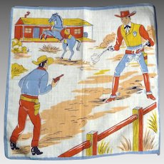Vintage Children's Hankie Handkerchief Cowboys Shootout