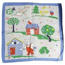 Vintage Children's Hankie Handkerchief MINT 3 Little Pigs