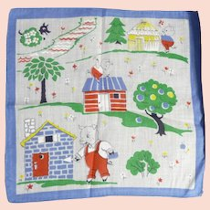Vintage Children's Hankie Handkerchief MINT 3 Little Pigs