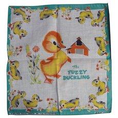 Vintage Children's Hankie Handkerchief MINT The Fuzzy Duckling Golden Book