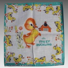 Vintage Children's Hankie Handkerchief MINT The Fuzzy Duckling Golden Book