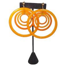 *HUGE* Rare Bakelite Concentric Circle Moving Hoop Clip Earrings Halloween Orange