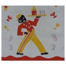 1930s Black Americana Cocktail Waiter Comical Kitchen Towel